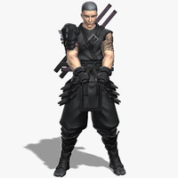 armored male ninja weapons 3d obj