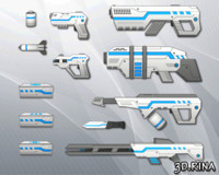 3d sci-fi weapons pack