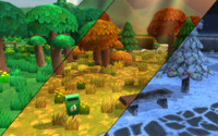 cartoon park constructor low-poly trees 3d fbx
