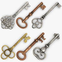 3d realistic vintage key set model