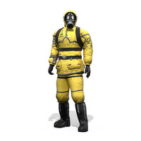 3d model man protective hazmat suit