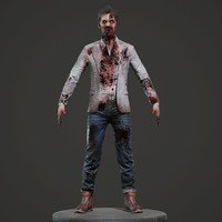 zombie male character 3d model