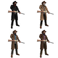 pack rigged cowboy 3d model