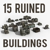 3d model ruined building damaged collections