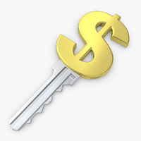 3d model realistic dollar key