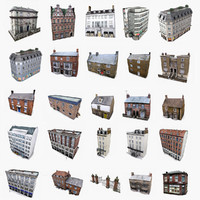3d model photorealistic european buildings set