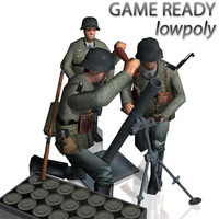 3d german mortar crew 8 model