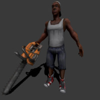 maya rigged guy chainsaw