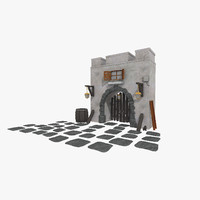 3ds max old gate medieval
