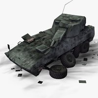 3ds wrecked military vehicle