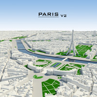 3d paris cityscape model