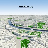 obj paris cityscape v1
