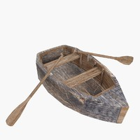 wooden boat 3d obj