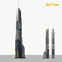obj sci fi tower building