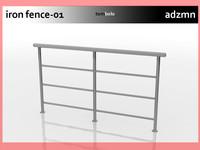 3d model iron railing fence