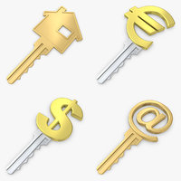 3d model of realistic symbol key set