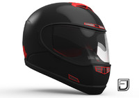 3d black red helmet h07 model