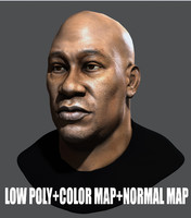 Low Poly Head Male black african 1
