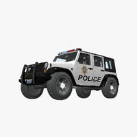 3d jeep wrangler police car model