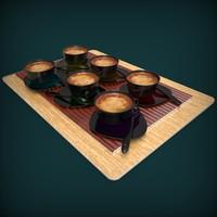 3d realistic coffee cups set model
