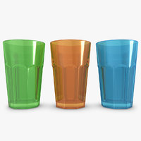 3d model drink glass 3 colors