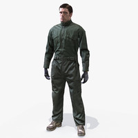 3d model uniform army soldier jumpsuit