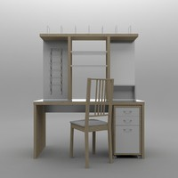 desk wood glass chair 3d max
