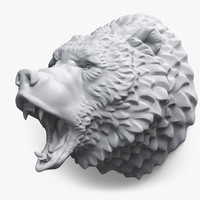 3d roaring bear head grizzly model