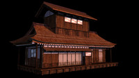 japanese old tradition house building obj