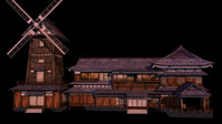 3d japanese old tradition house model
