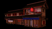3d japanese old tradition house building