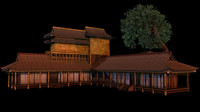 japanese old tradition house building 3d 3ds