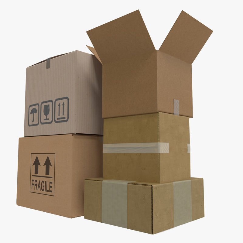 3d models of Cardboard Boxes Collection 000.jpg