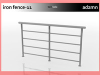 3d model of iron railing fence