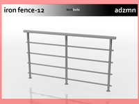 3d iron railing fence model