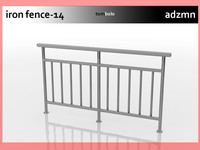 3d model iron railing fence