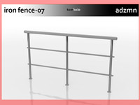 3d model rail fence iron