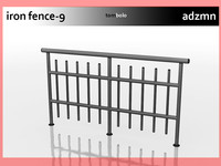 iron railing fence 3d model