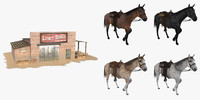 3d wild west stable pack