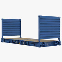 3d model flat rack container blue