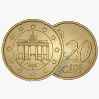3d model german euro coin 20
