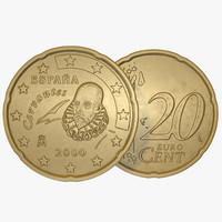 spain euro coin 20 3d c4d