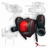Battle drone red sci-fi low poly