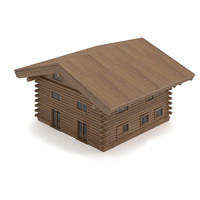 wooden log house 3d model