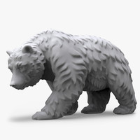 3d model bear fur walking sculpture