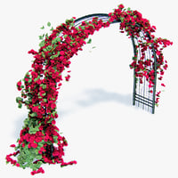 pergola flowers ivy arched 3d model