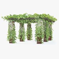 3d model pergola flowers ivy long