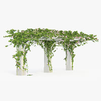 pergola flowers ivy angled 3d model