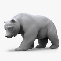 3d model bear walking sculpture