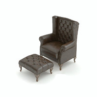 3d leather chair ottoman model